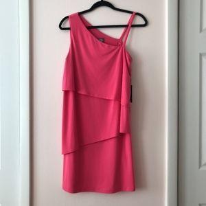 Vince Camuto Pink One Shoulder Tiered Dress